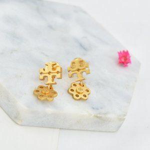 Tory Burch Simple Metal Style Flower Earrings